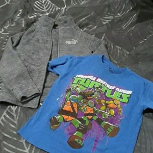 Boys 6 Puma Jacket + Ninja Turtle T Shirt